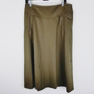 Talbots green wool midi skirt side buttons size 8